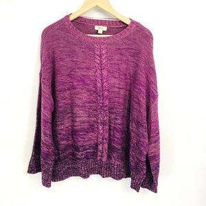 Style & Co Purple Knitted Scoop Neck Sweater